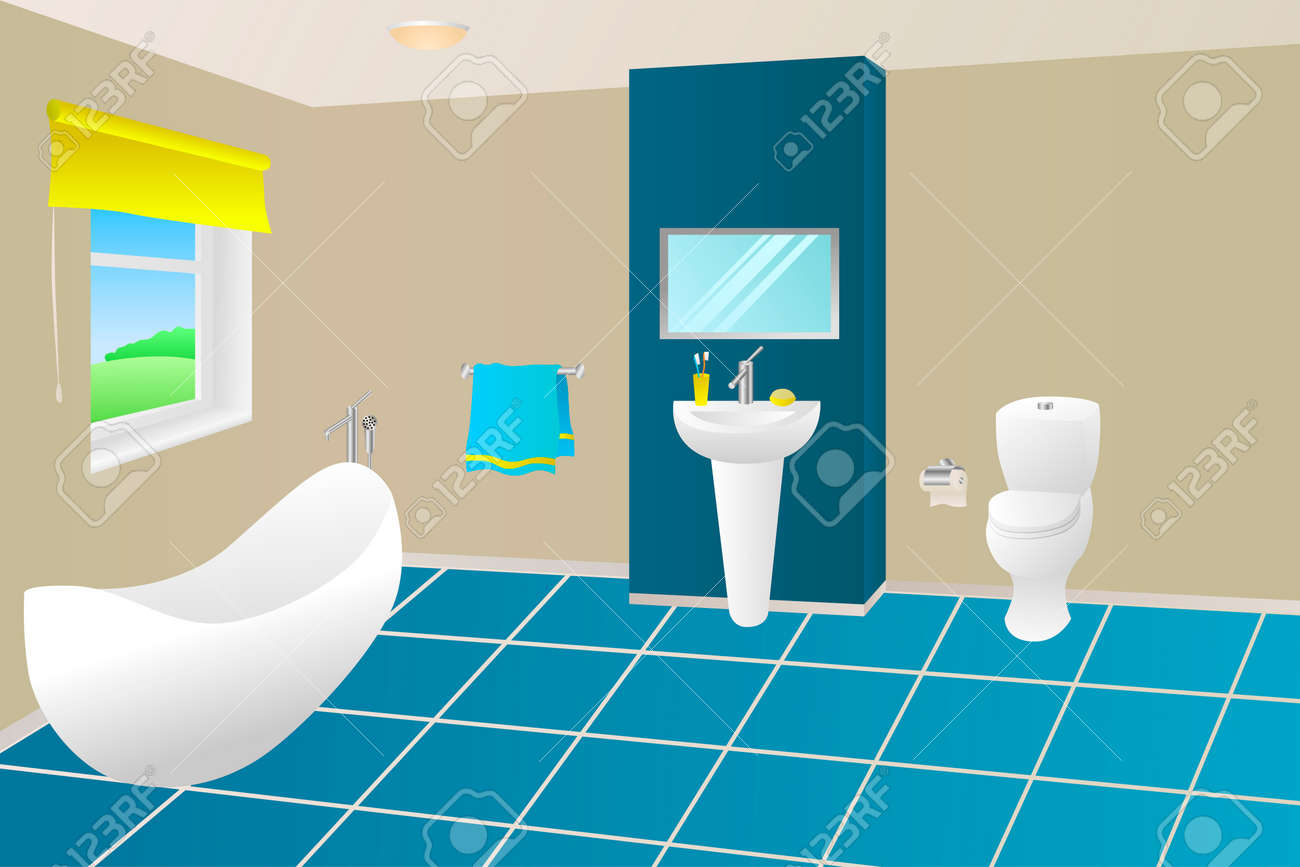 Salle de bains moderne beige bleu jaune serviette de bain évier articles de  fenêtre Illustrations