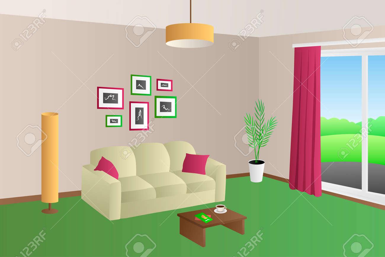 Moderne Wohnzimmer Interieur Beige Grüne Sofa Rot Kissen Lampen ...