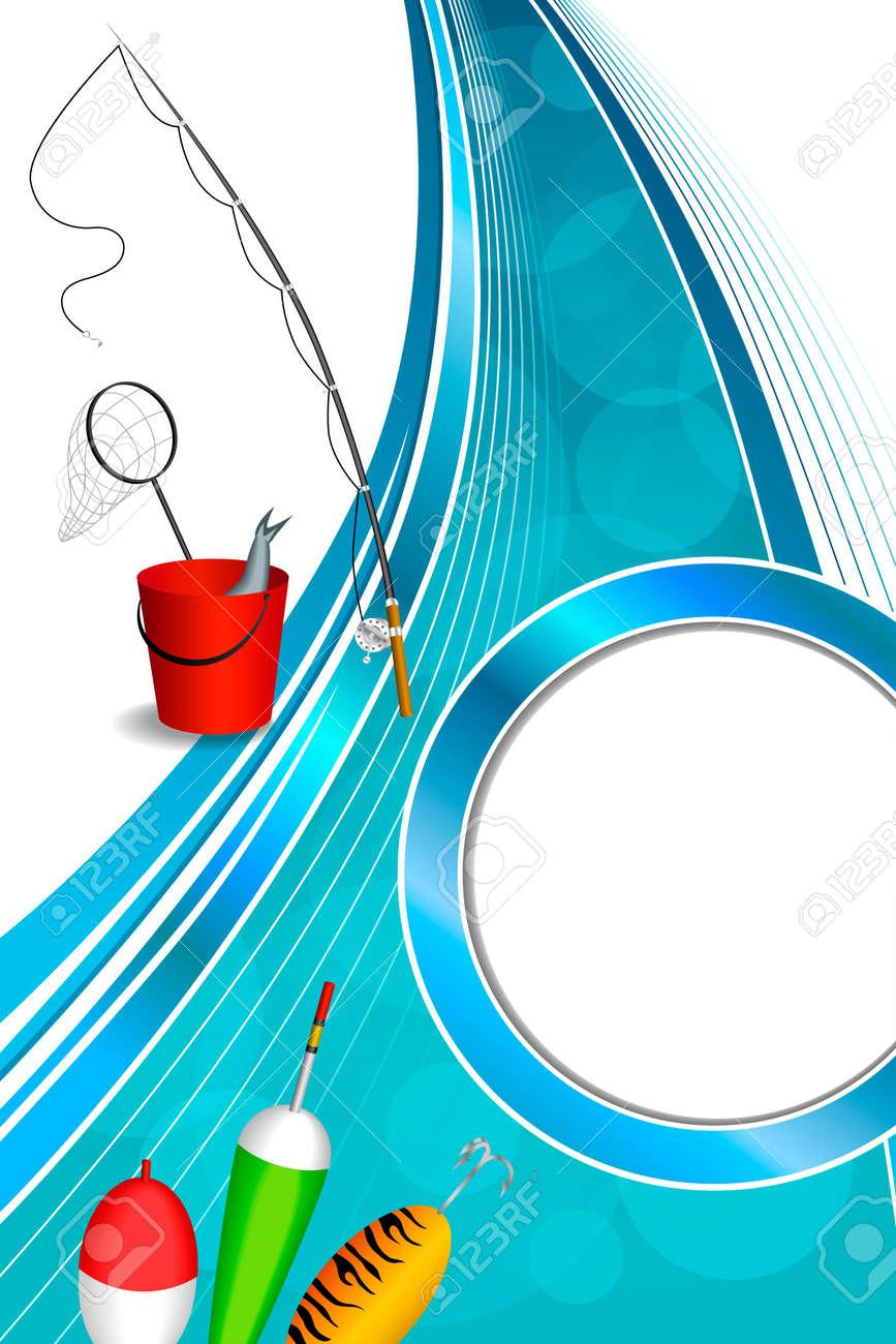 Fondo Abstracto Azul Blanco Caña De Pescar Peces Cubo Rojo Cuchara ...