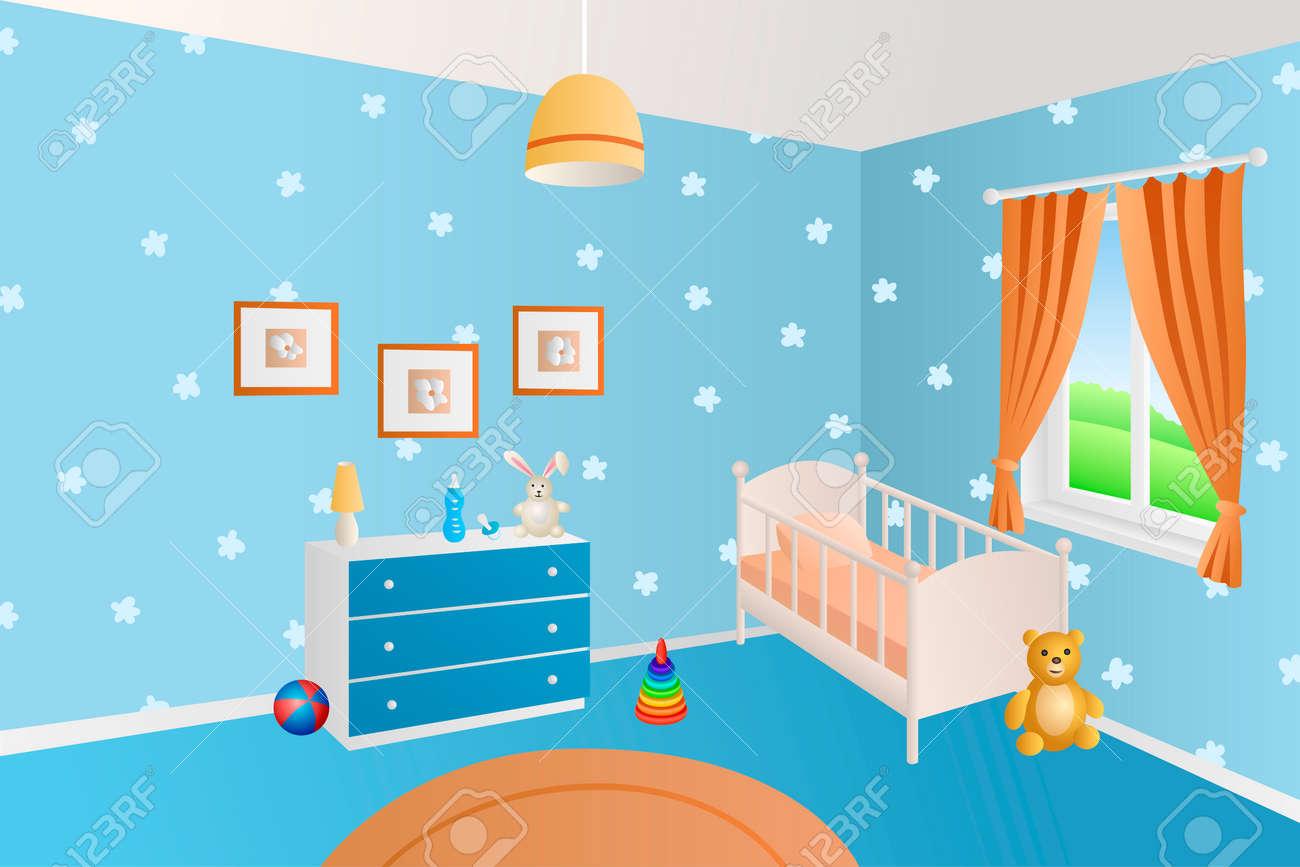 Modern interior baby room blue toys white bed window illustration