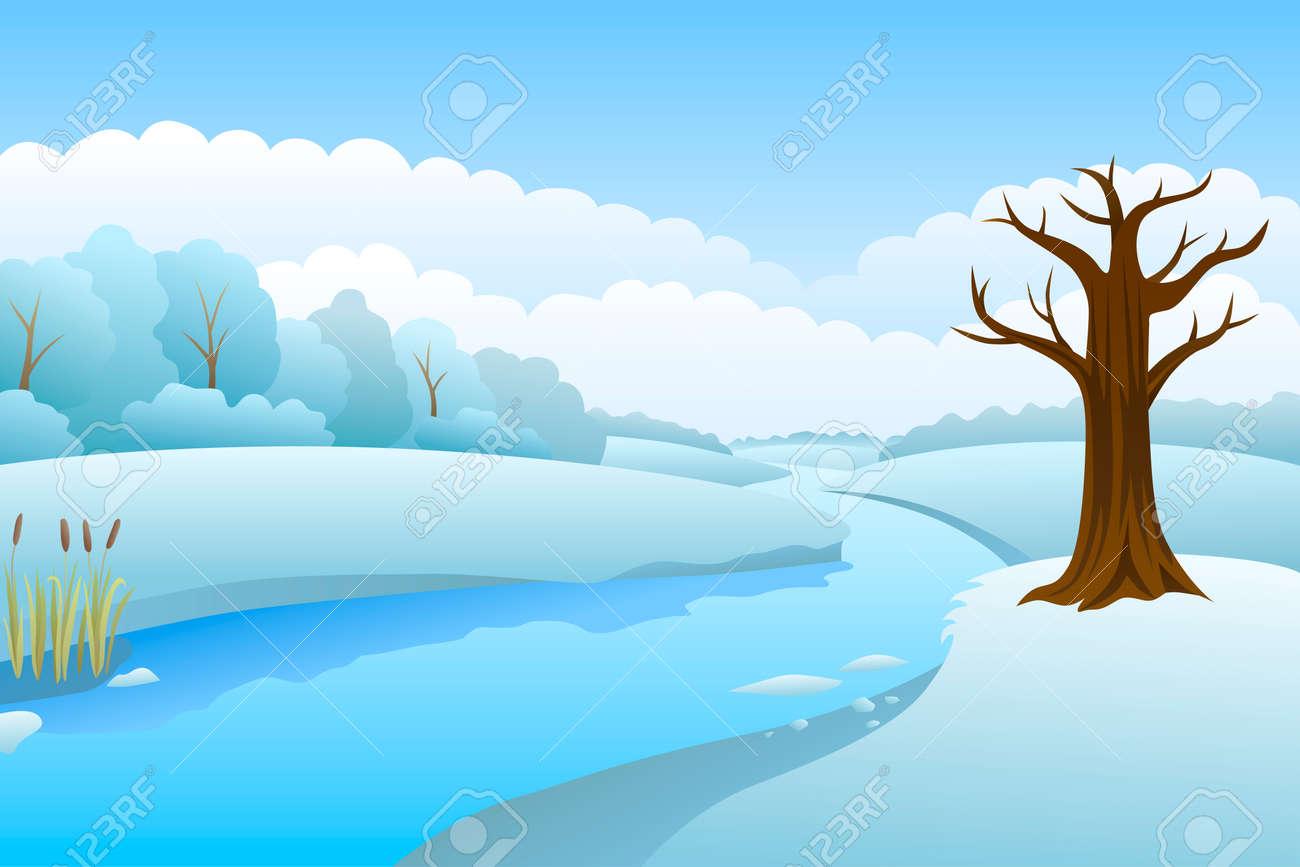 川冬風景日イラストのイラスト素材ベクタ Image 50152918