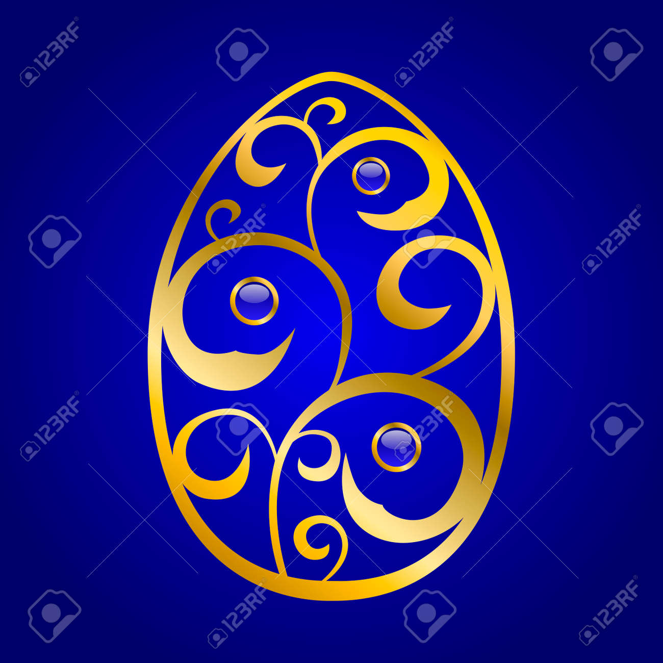 Abstract Blue Gold Easter Egg Pattern Illustration Vector Stock