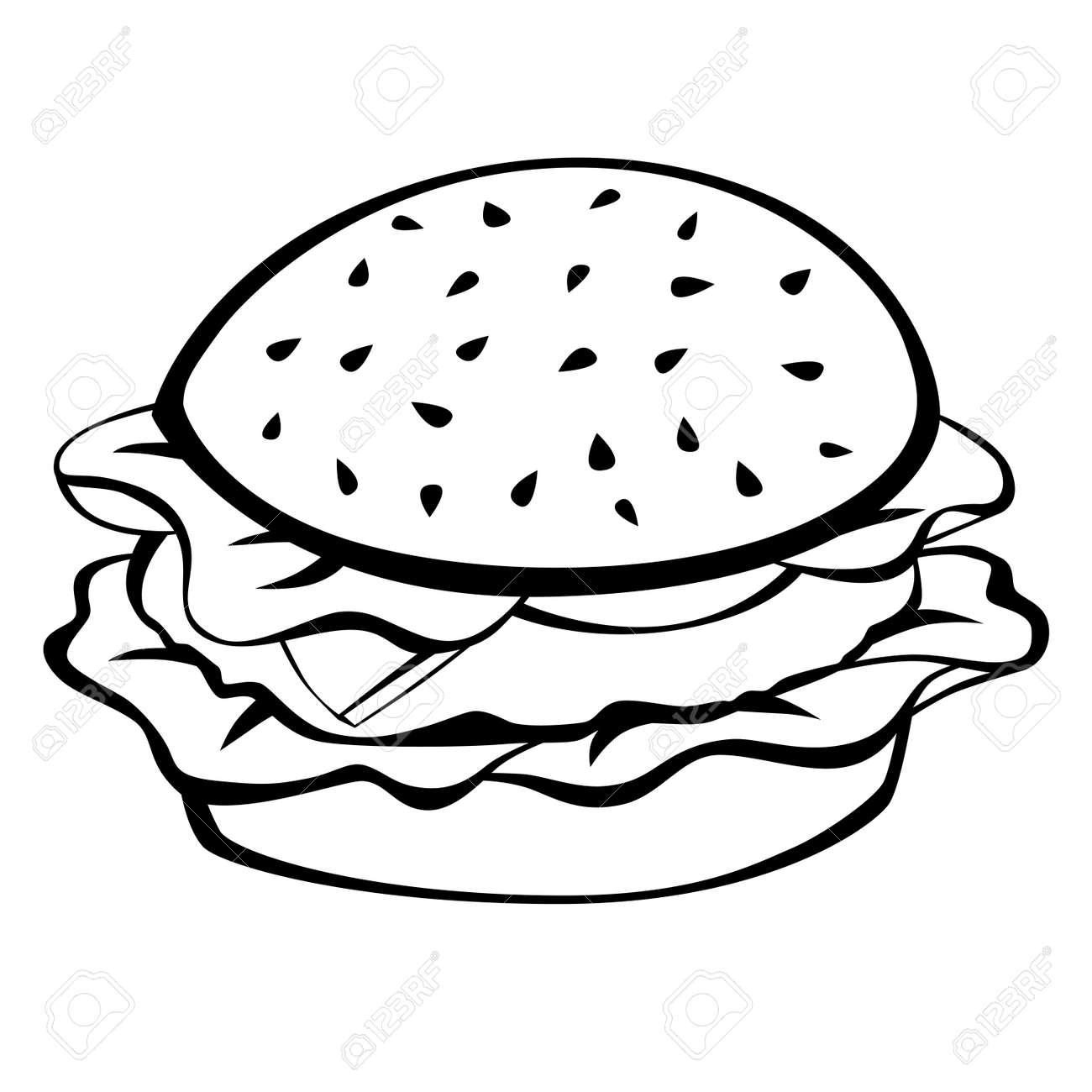 Black white hamburger food isolated illustration vector