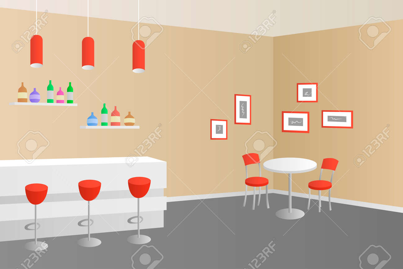 Interior Cafe Bar Coffee Shop Beige Red Illustration Vector Royalty ...