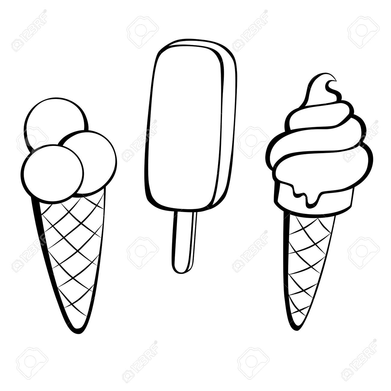 ice cream black white sweet food isolated illustration royalty free rh 123rf com ice cream cup clipart black and white ice cream sundae clipart black and white