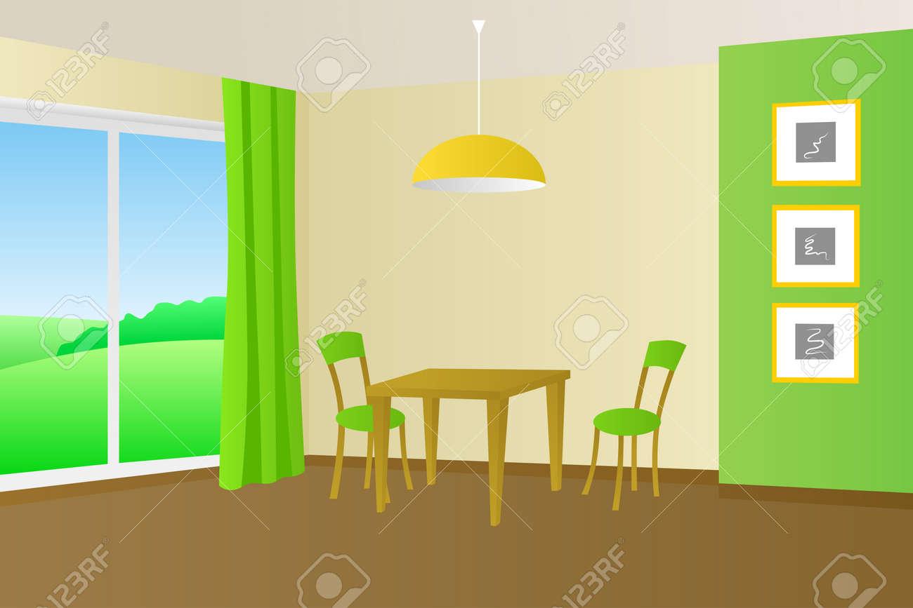 Küche Zimmer Innen Tisch Stuhl Fenster Illustration Standard Bild   52898598
