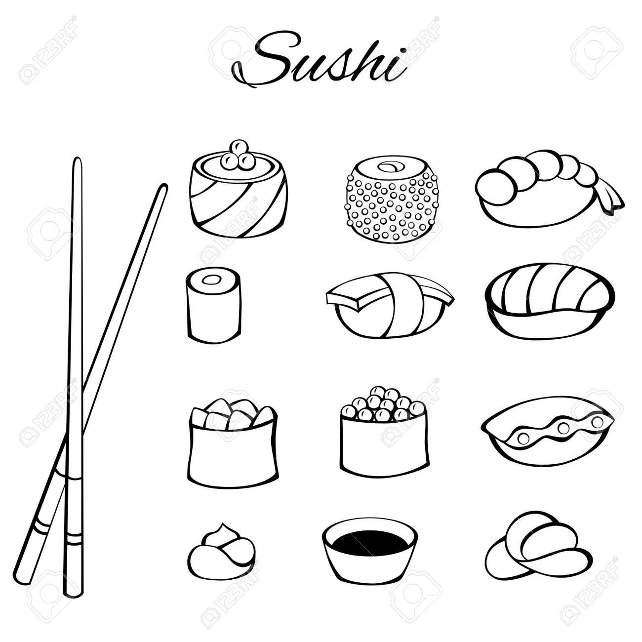 Sushi food set black white isolated illustration Фото со стока , 52898613