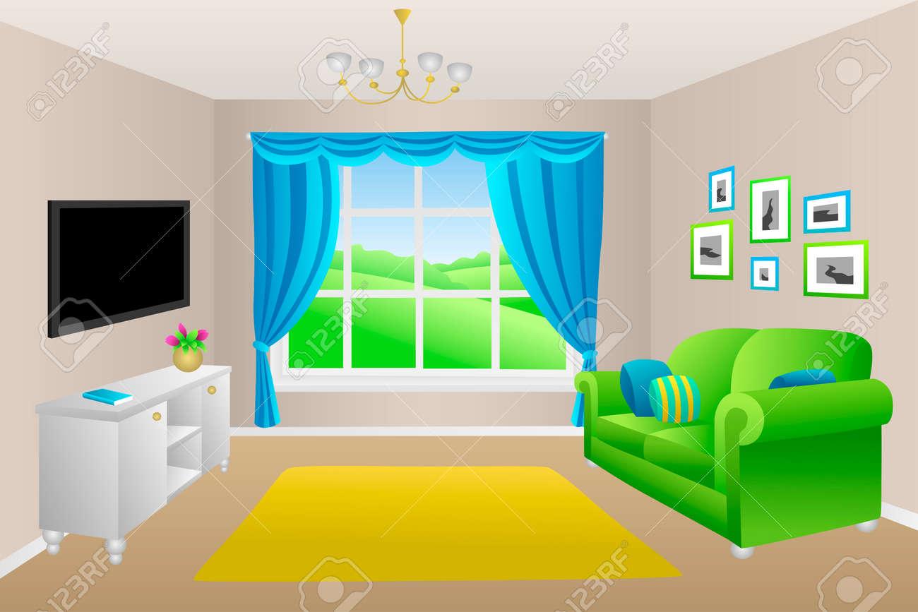 Wohnzimmer Blau Grun Sofakissen Lampen Fenster Illustration