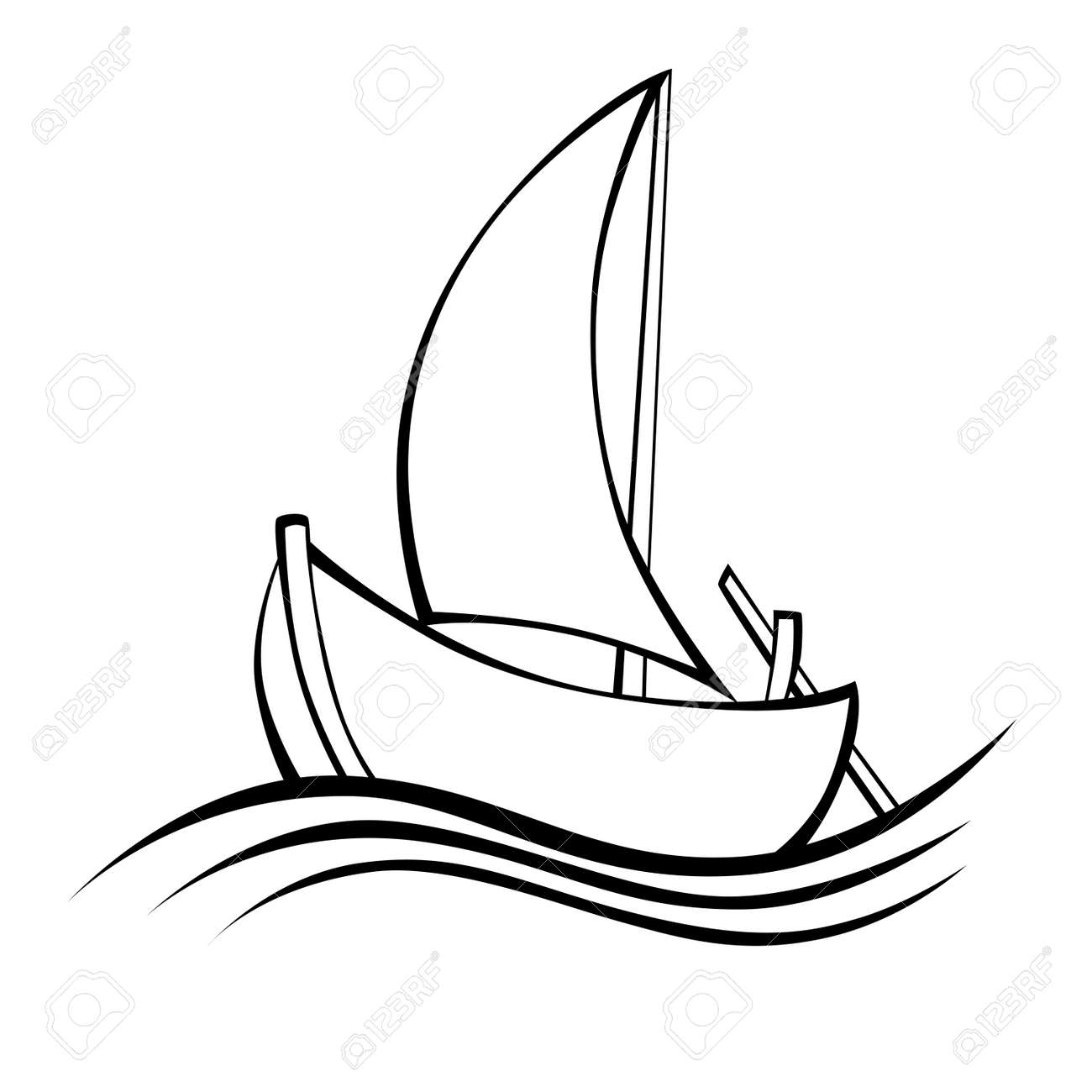 Sailing Boat Black White Isolated Object Illustration Stock Vector