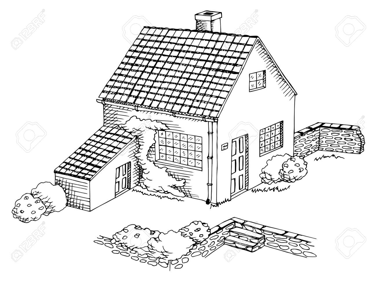 Village House Graphic Art Black White Landscape Illustration