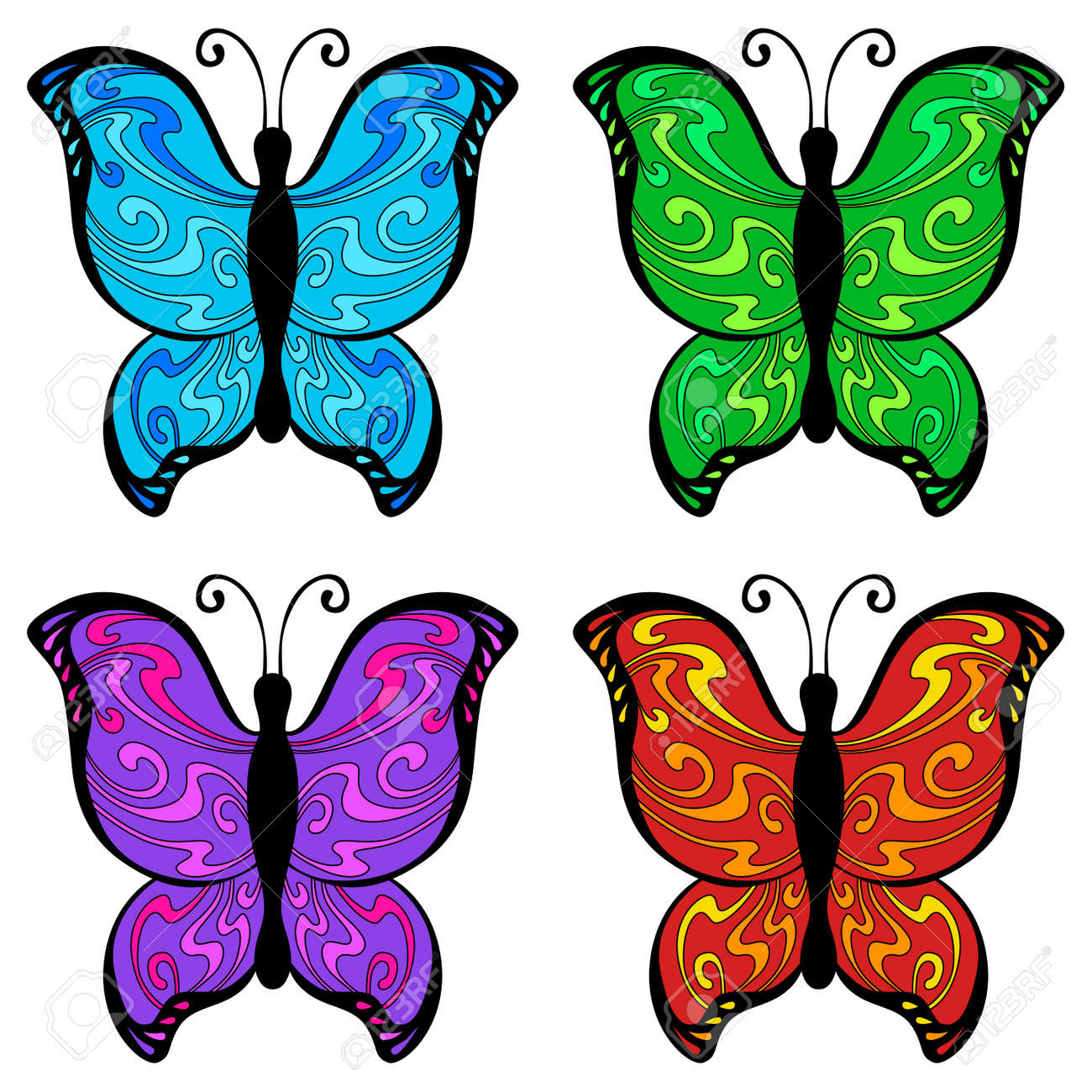 abstract butterfly color blue red yellow green pink violet