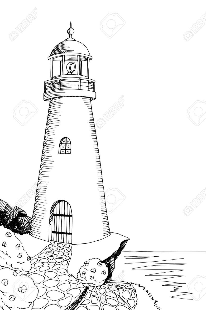 Lighthouse Graphic Art Black White Sea Landscape Illustration Vector Stock