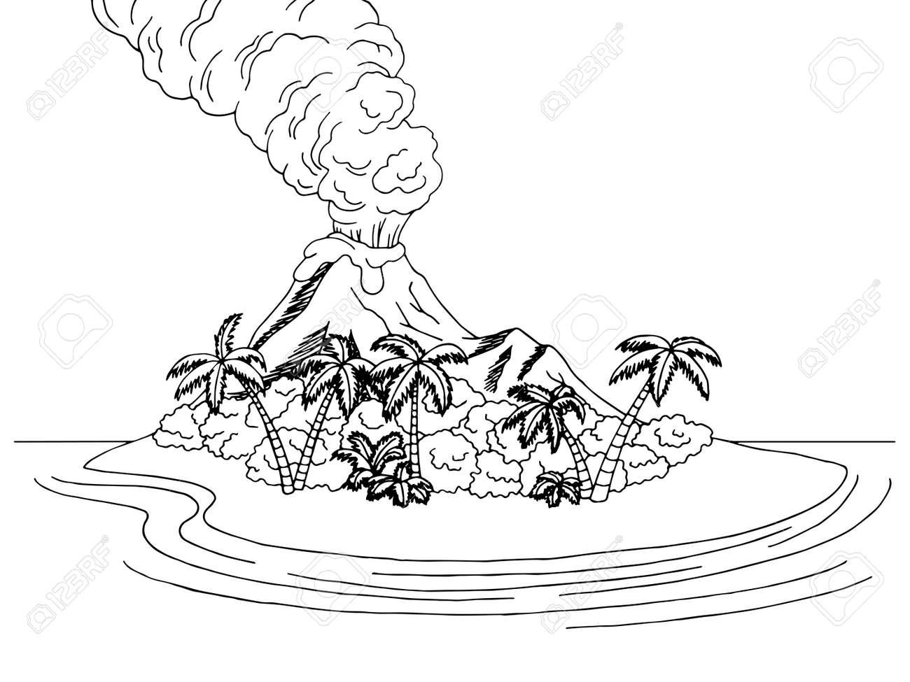 Vector volcano island mountain sea graphic art black white sketch landscape illustration vector