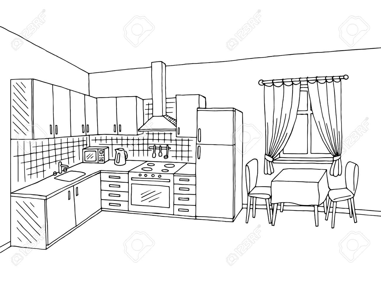 Kuche Room Interior Schwarz Weiss Grafik Design Skizze Abbildung
