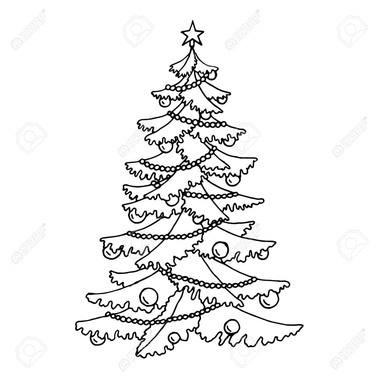 Weihnachtsbaum Der Grafischen Kunst Schwarz Weiß Isoliert Skizze