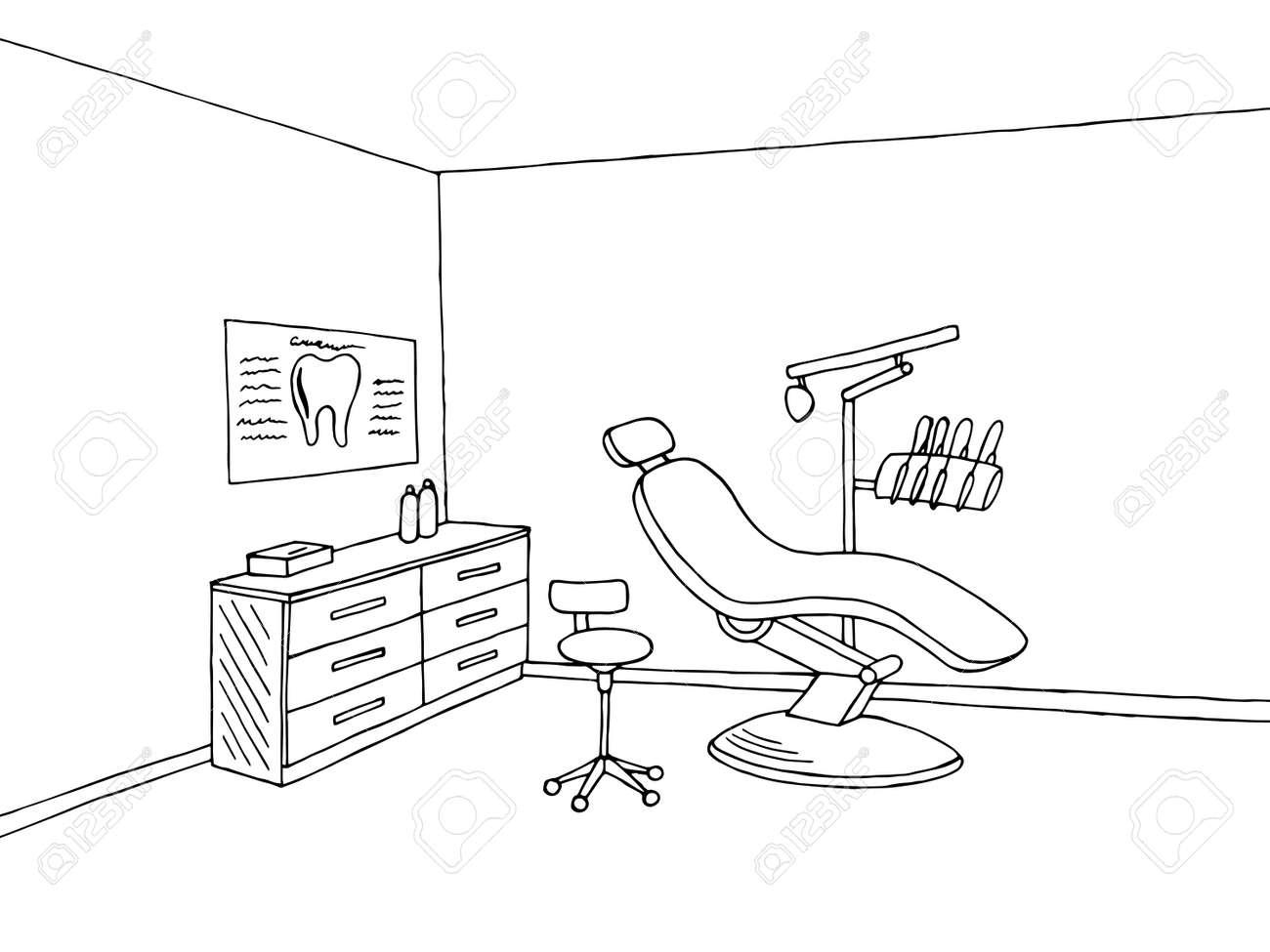 Zahnarzt Buro Klinik Grafik Schwarz Weiss Skizze Illustration Vektor