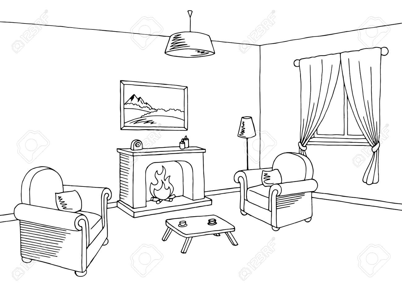 Cool Fireplace Living Room Interior Graphic Art Black White Sketch Home Interior And Landscaping Palasignezvosmurscom