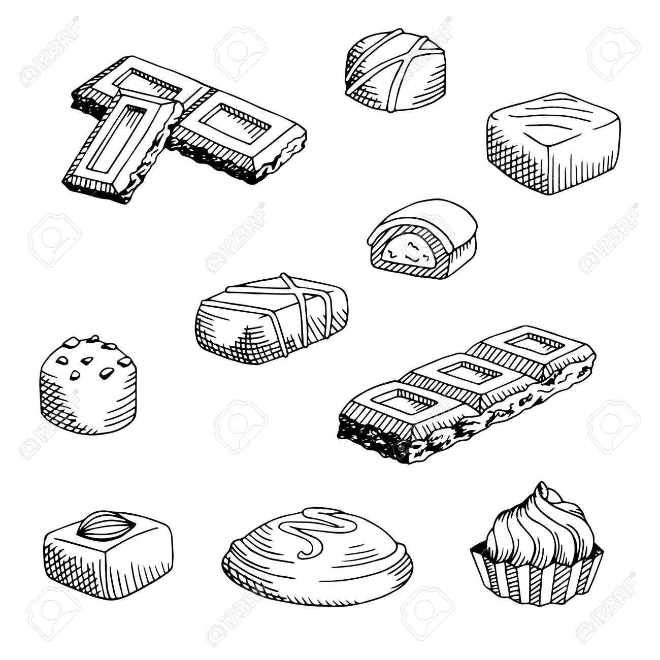 Illustration Graphique De Chocolat Blanc Noir Isolé Dessin Esquisse