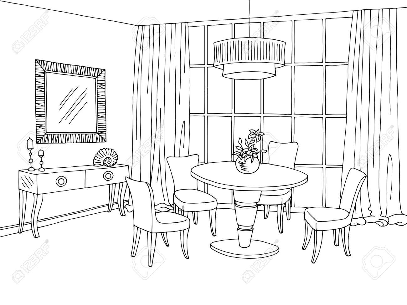 Salle à manger graphique noir blanc illustration vecteur croquis chambre