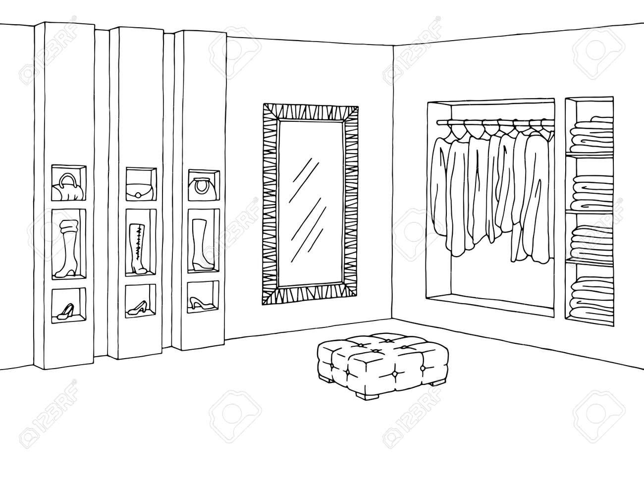 Shop Innenarchitektur Schwarz Weiss Skizze Illustration Vektor Standard Bild