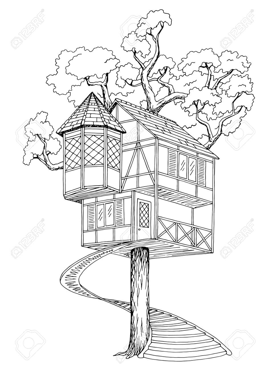 treehouse art black and white www topsimages com rh topsimages com And White Black Older Scissorcs Argument Black and White