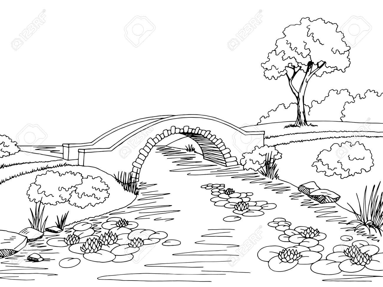 Bridge graphic black white landscape sketch illustration vector - 69259689