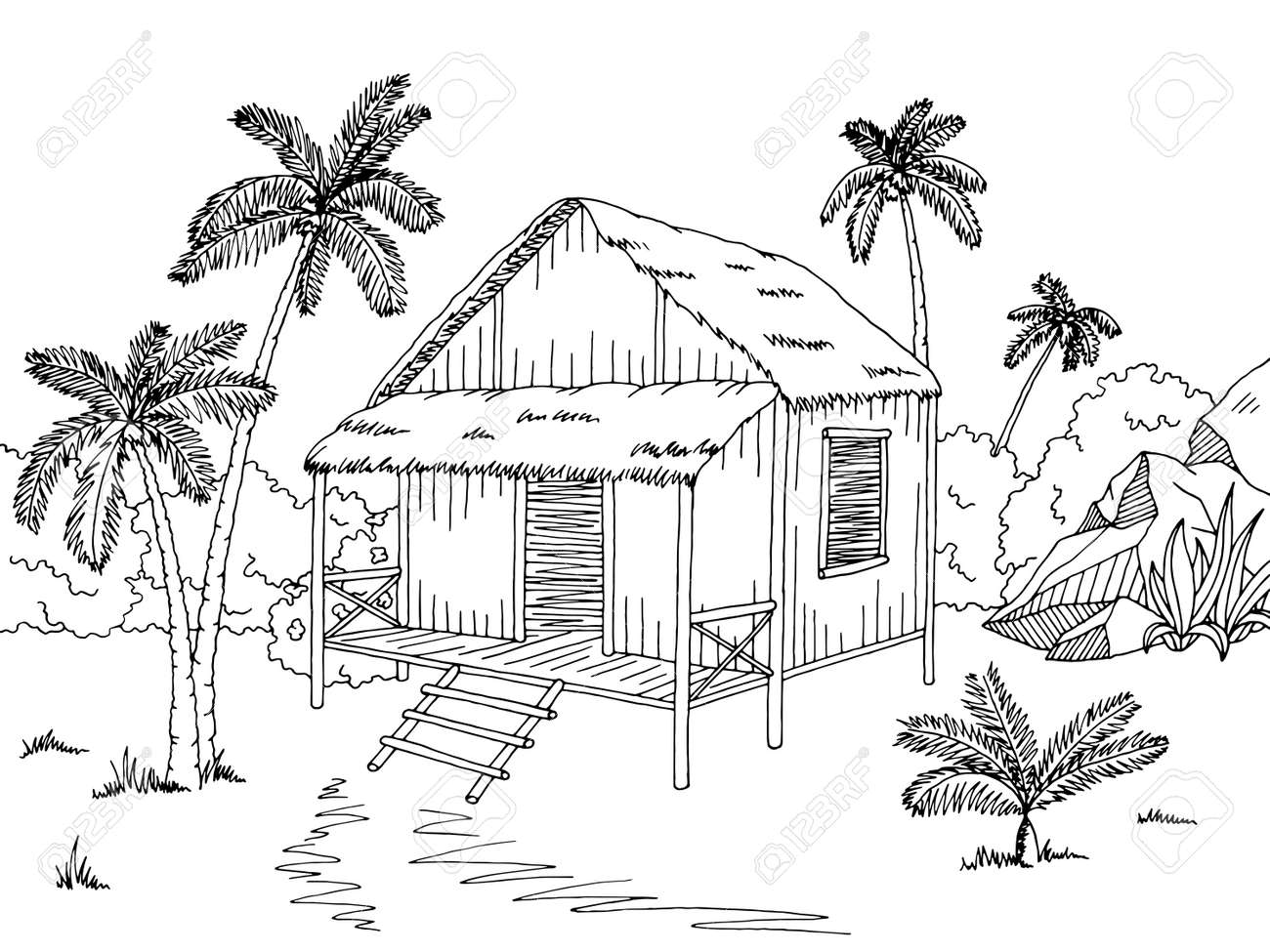Jungle Hut House Graphic Black White Sketch Illustration Vector Stock