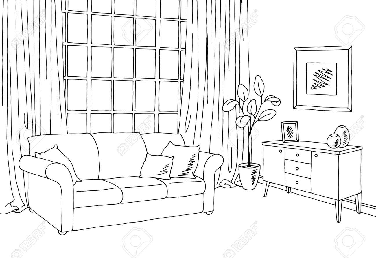 Living room graphic black white interior sketch illustration..