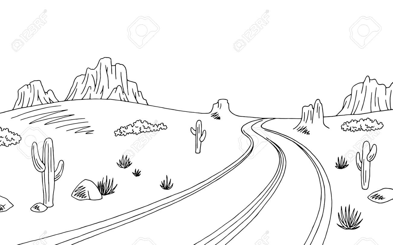 Prairie Road Graphic Black White Landscape Sketch Illustration ...
