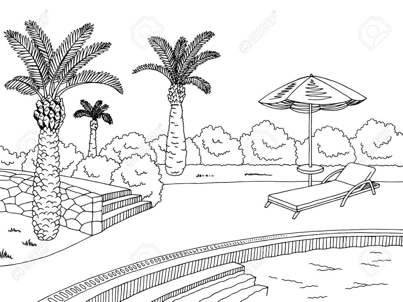 Swimming Pool Outline Source Graphic Black And White Sketch Illustration Vector