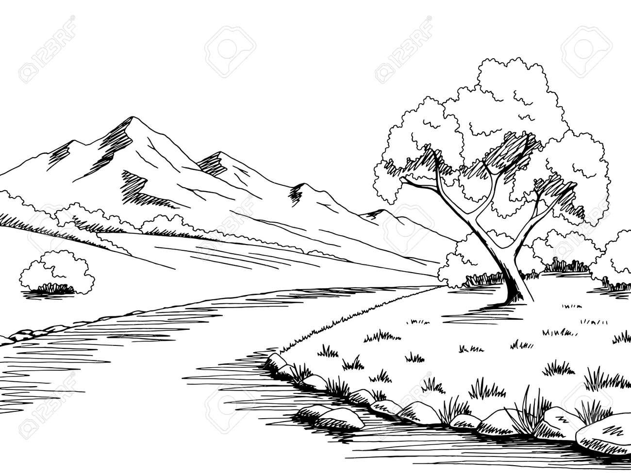 Mountain Landscape Black and White Clip Art