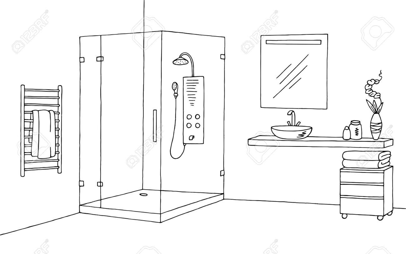 Bathroom Graphic Interior Black White Sketch Illustration Vector