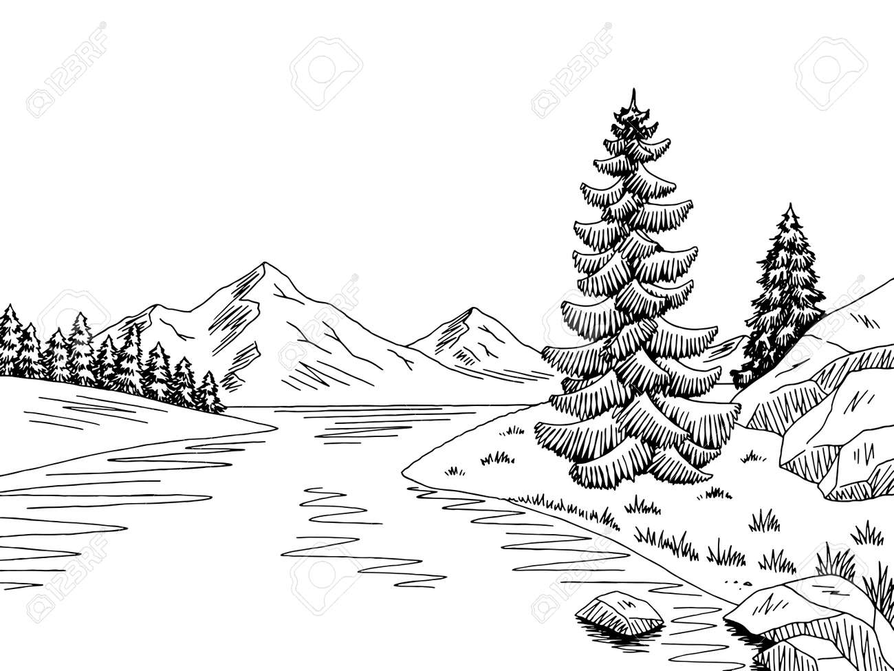 mountain river graphic black white landscape sketch illustration royalty free cliparts vectors and stock illustration image 81007900 mountain river graphic black white landscape sketch illustration