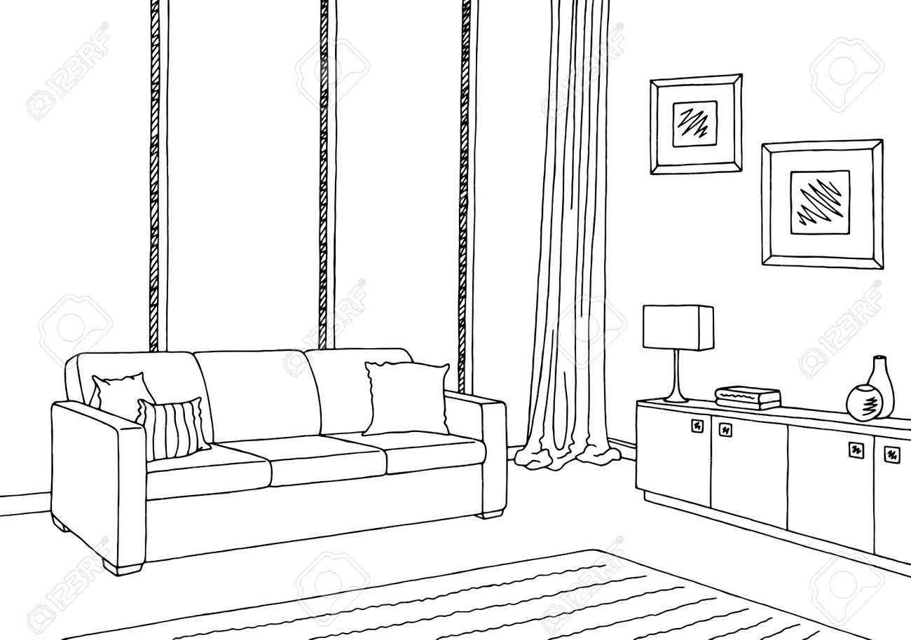 Living Room Graphic Black White Interior Sketch Illustration ...