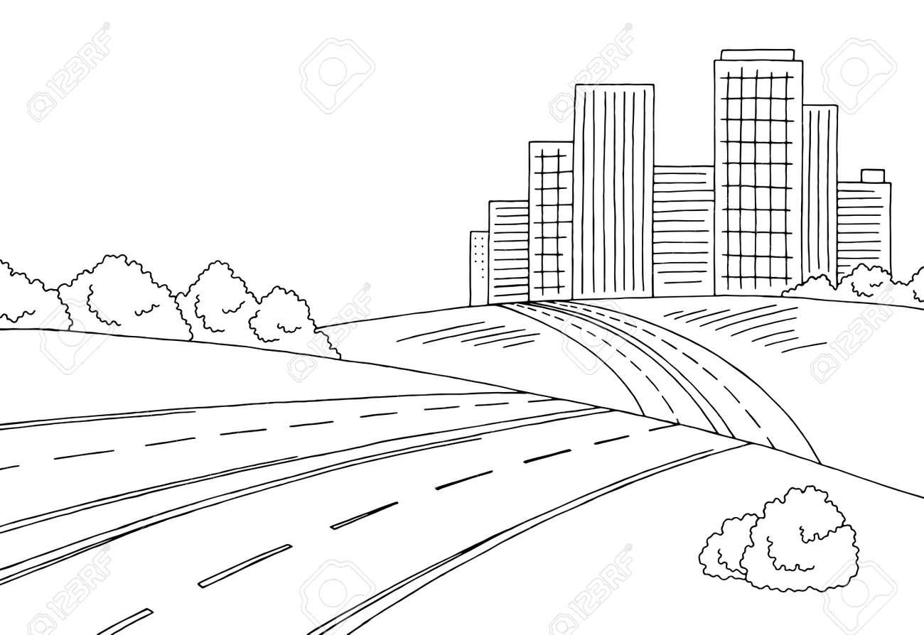 Carretera Ciudad Gráfica En Blanco Y Negro Ilustración Vectorial Boceto