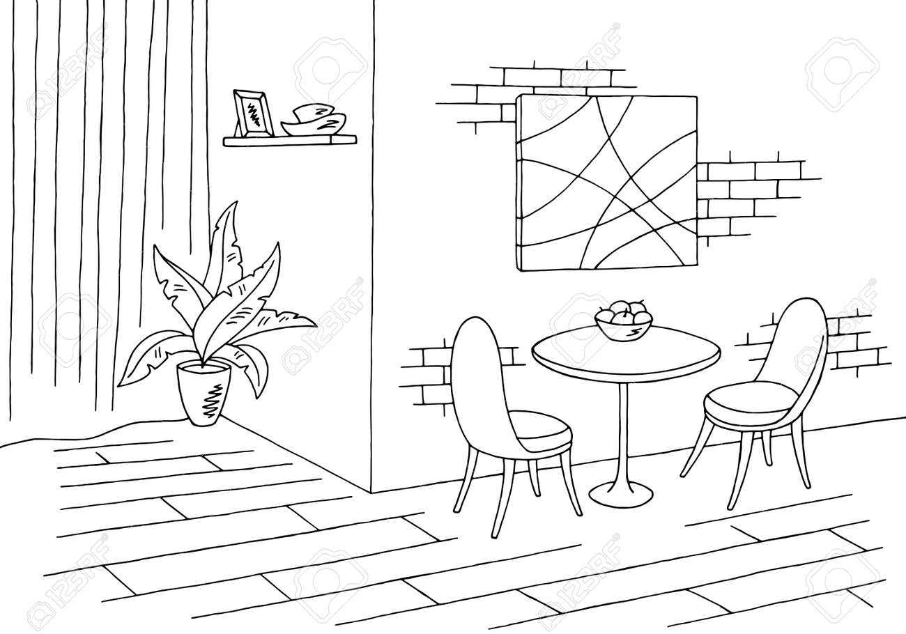 Dining Room Graphic Black White Sketch Stock Vector