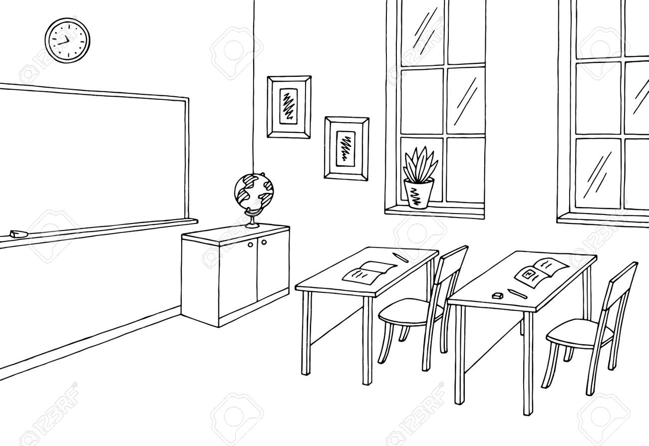 classroom graphic black and white interior sketch illustration