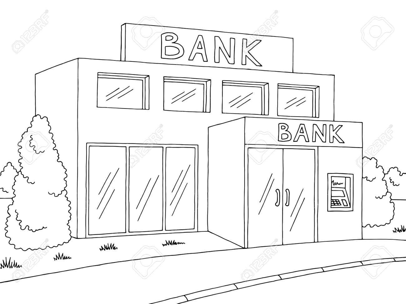 Bank Exterior Graphic Black White Sketch Illustration Vector Royalty