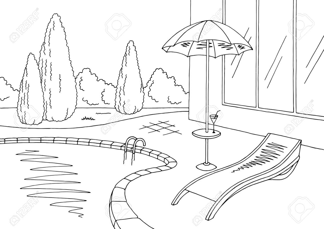 Swimming clipart black and white  Swimming Pool Graphic Black And White Sketch Illustration Vector ...