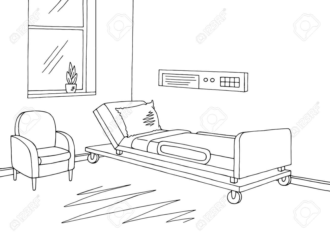 hospital ward graphic black white interior sketch illustration rh 123rf com Emergency Room Sketch Hospital Room Drawing