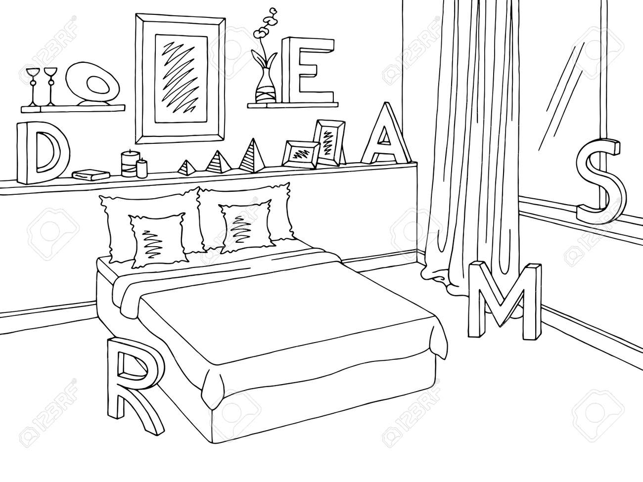 Bedroom Graphic Black White Home Interior Sketch Illustration
