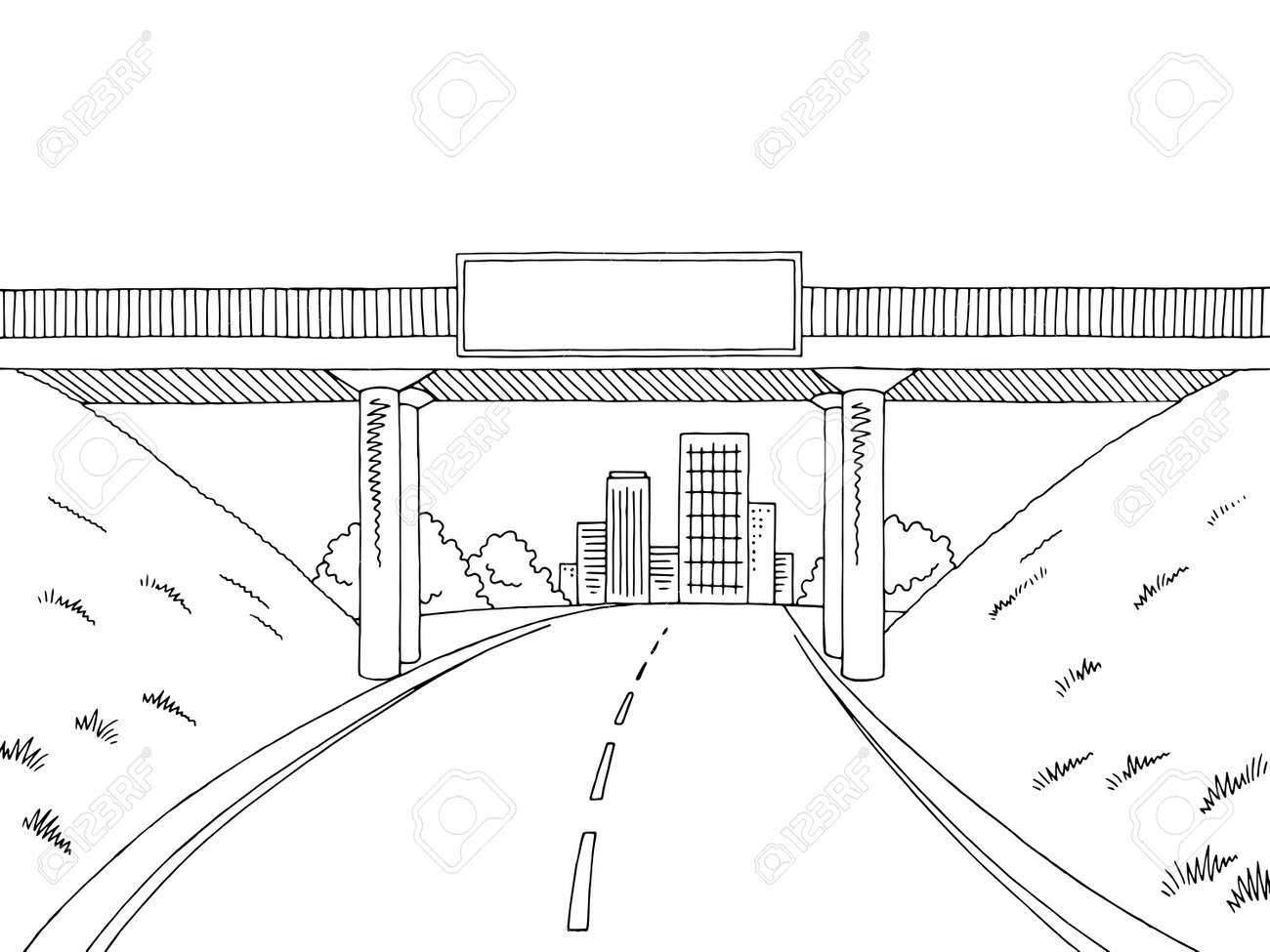 Road Bridge Graphic Black And White City Sketch Illustration Royalty Free Cliparts Vectors And Stock Illustration Image 98142330
