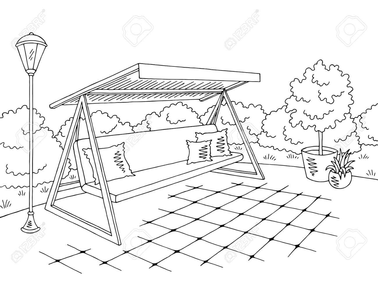 Garden Swing Sketch Design Royalty Free Cliparts Vectors And
