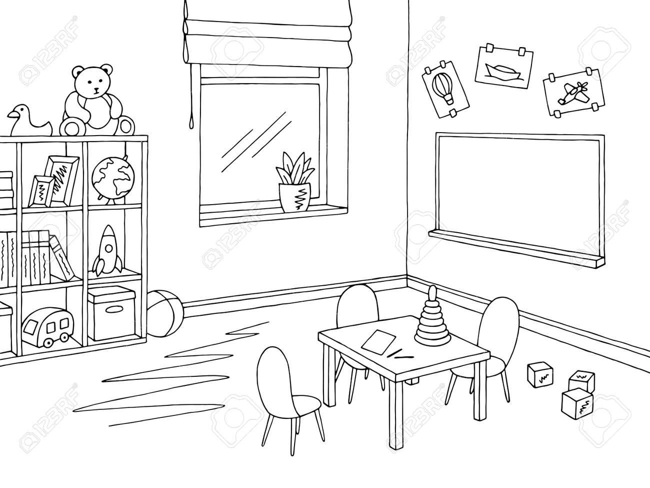 preschool classroom graphic black and white interior sketch
