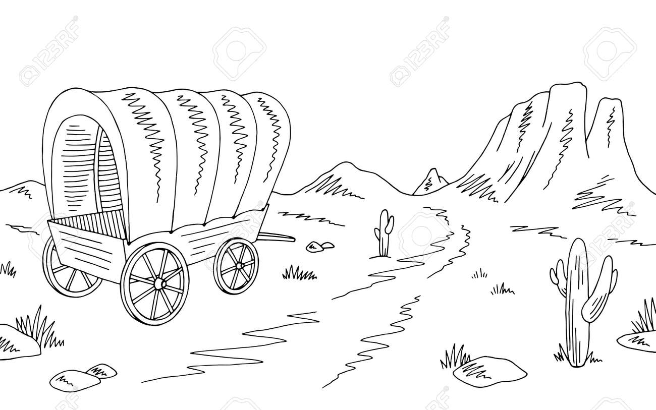 Mormon Share } Covered Wagon - line art in 2020   Covered wagon, Covered  wagon craft, Covered wagon project