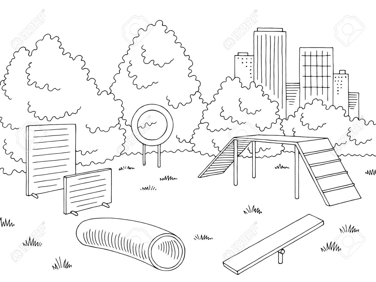Children's playground graphic in black and white sketch. Vector illustration - 105393986