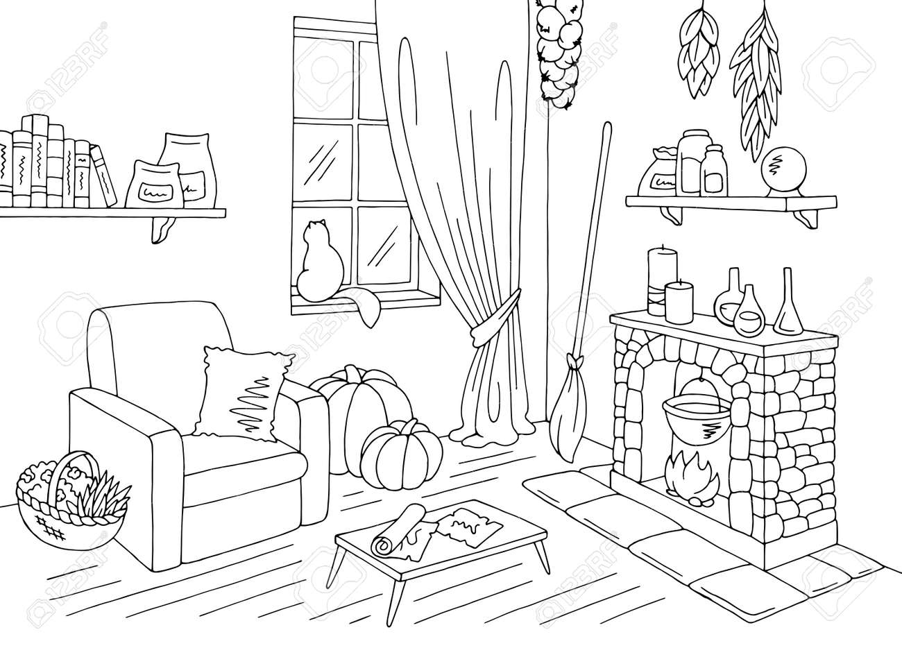 Witch Living Room Graphic Black White Home Interior Sketch
