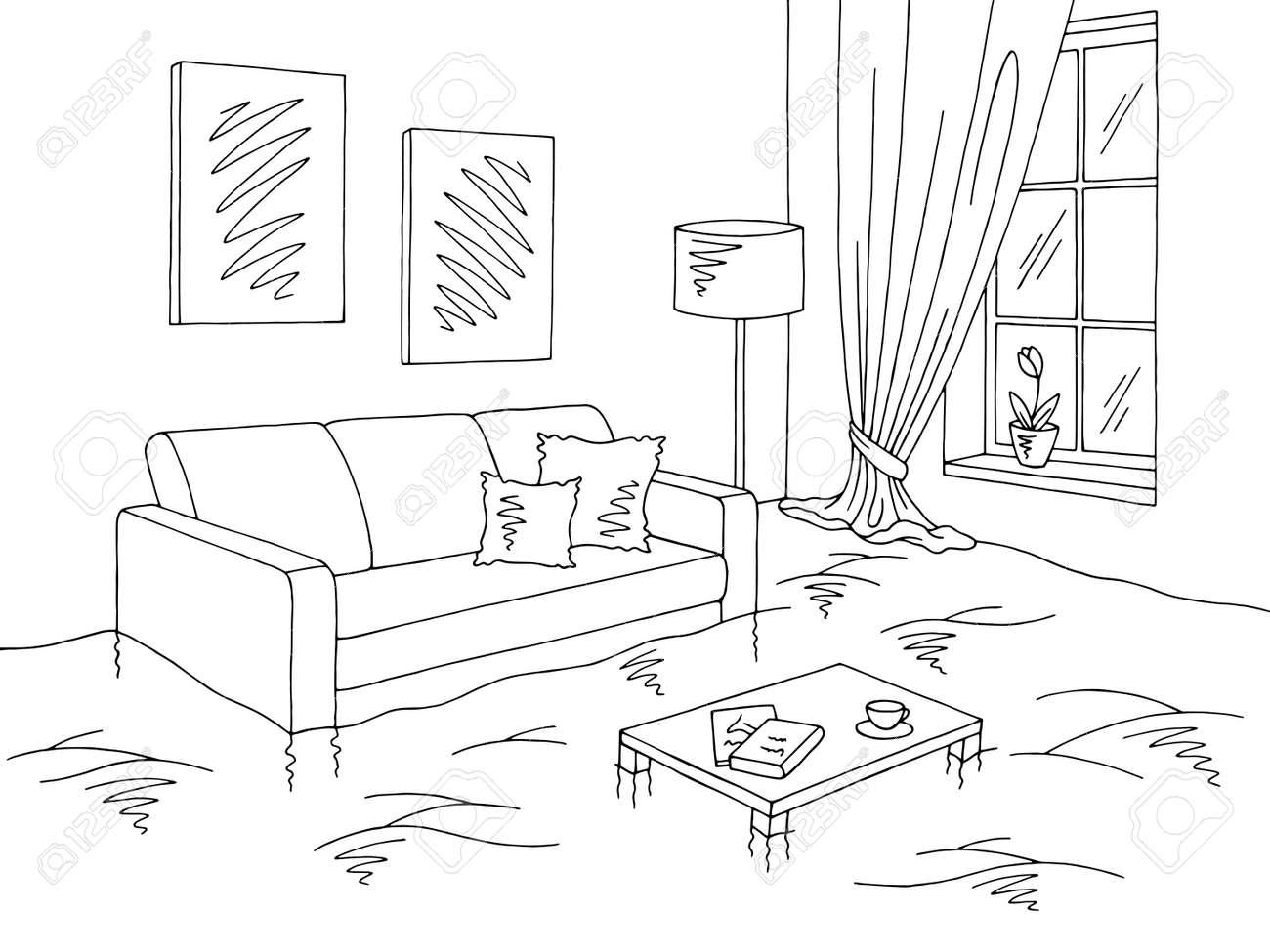 Flood Living Room Graphic Black White Home Interior Sketch