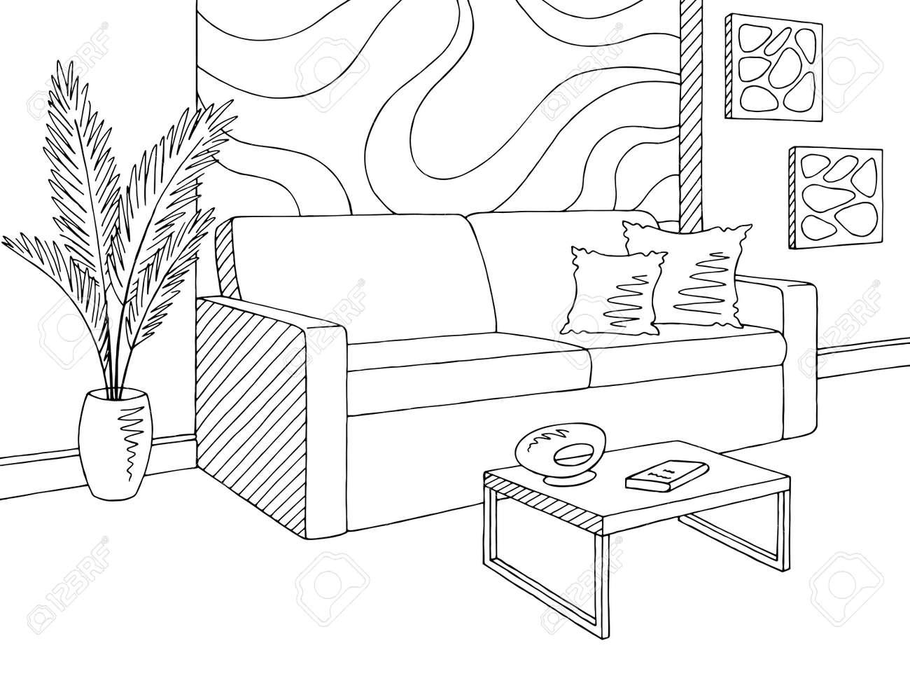 Living Room Graphic Black White Home Interior Sketch Illustration