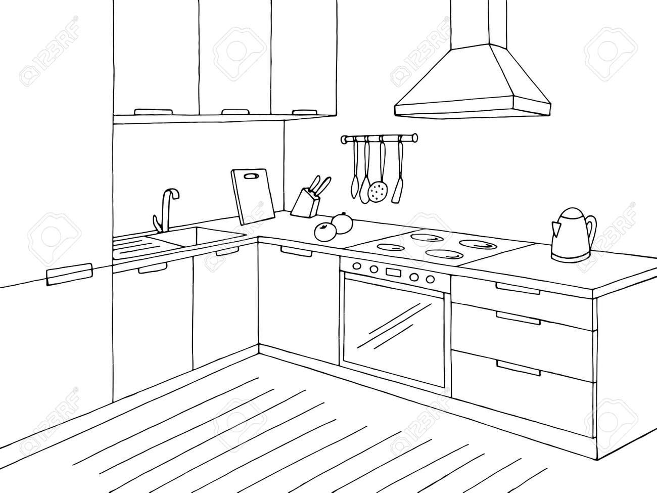 Kitchen room graphic black white home interior sketch illustration vector - 133292906